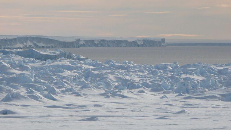 "Joanne Johnson has seen a crack in the Pine Island Glacier tens of kilometres long, ""quite far"" inland. Pic: Joanne Johnson/BAS"