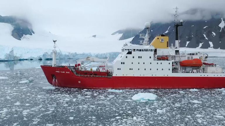 British survey ship James Clark Ross collects samples for analysis for pollutant content