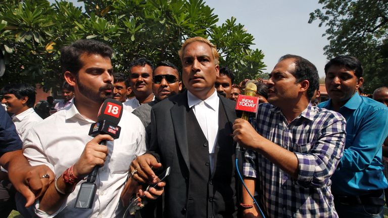 AP Singh, a lawyer representing three of the four men, outside court in 2017