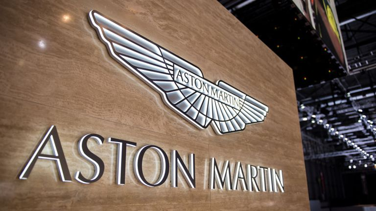 GENEVA, SWITZERLAND - MARCH 07: Logo of Aston Martin at the 88th Geneva International Motor Show on March 7, 2018 in Geneva, Switzerland. Global automakers are converging on the show as many seek to roll out viable, mass-production alternatives to the traditional combustion engine, especially in the form of electric cars. The Geneva auto show is also the premiere venue for luxury sports cars and imaginative prototypes. (Photo by Robert Hradil/Getty Images)