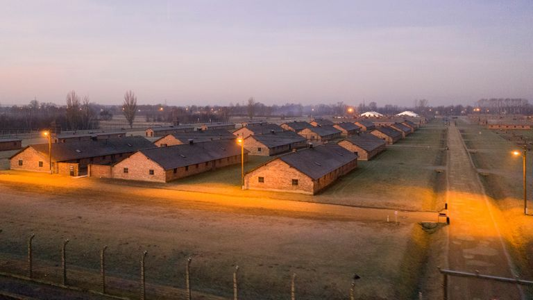 An aerial picture showe barracks and buildings of former Nazi German Auschwitz-Birkenau concentration camp complex in Oswiecim, Poland