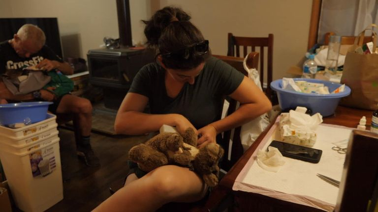 Sam Mitchell and his wife Dana's front room has been turned into a 24-hour care area for orphaned animals