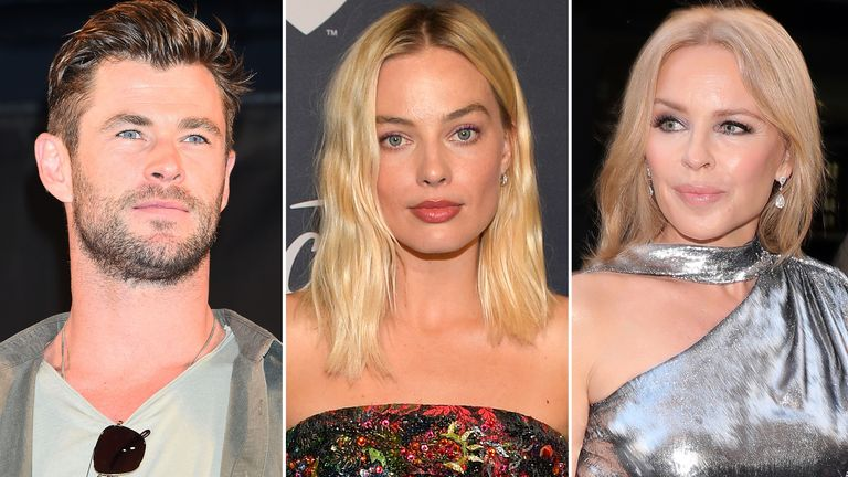 Chris Hemsworth, Margot Robbie and Kylie Minogue