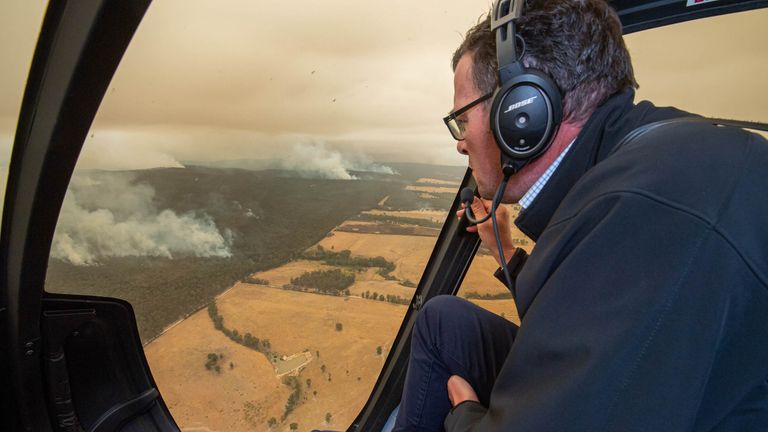 Victorian Premier Daniel Andrews flies over the East Gippsland fires in Victoria, Australia