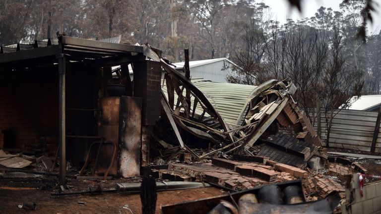 Gutted homes in Mogo Village, New South Wales