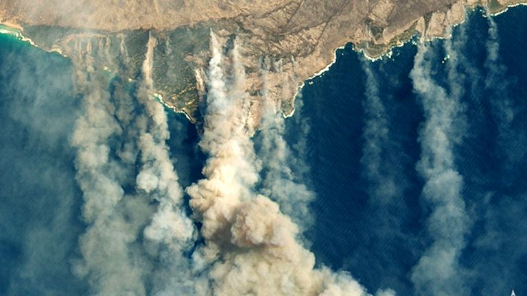 A satellite image showing burned land and thick smoke over Kangaroo Island. Pic: NASA Earth Observatory