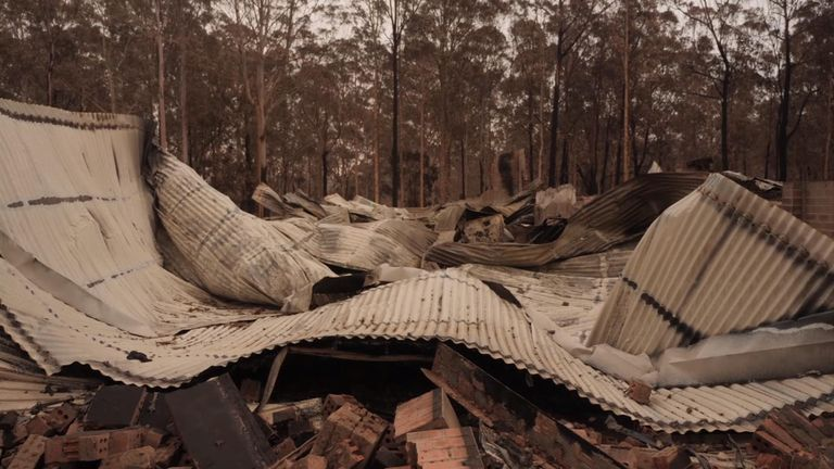 A house crippled by the fires in New South Wales