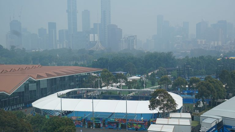 The Melbourne skyline shrouded by smoke haze during an Australian Open practice session