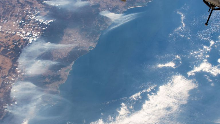Smoke from the Australian bushfires seen from space. Pic: NASA