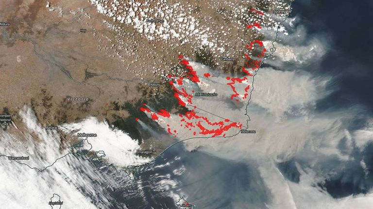 NASA satellite data provides a look at the smoke and aerosols generated by the massive fires in Australia. Pic: NASA