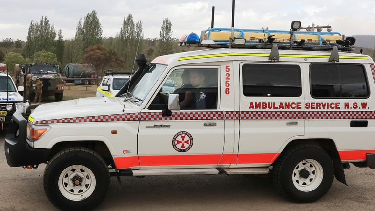 Emergency services near the scena of the crashed water tanker plane in Cooma