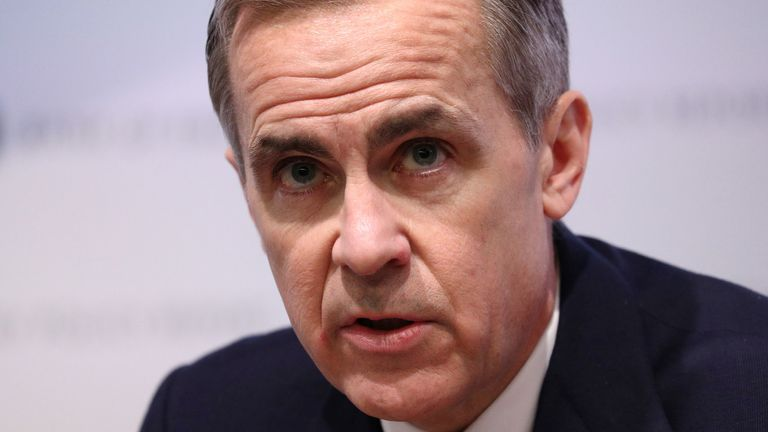 Governor Mark Carney during the Bank of England's Monetary Policy Report news conference in the City of London