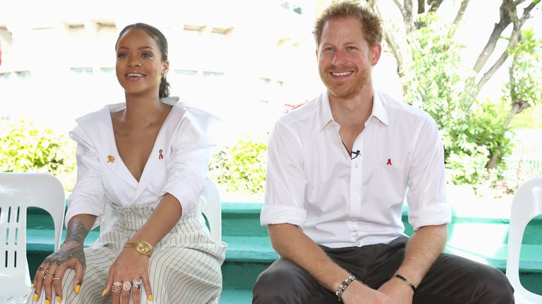 Prince Harry and Rihanna at the Man Aware event held by the Barbados National HIV/AIDS Commission in Barbados in 2016