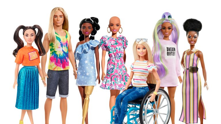 """Undated handout photo issued by Mattel of their range of Barbie dolls. The makers of Barbie dolls are to sell a version that looks as if it has the skin condition vitiligo and another with no hair, in an effort to increase the diversity of the range. PA Photo. Issue date: Monday January 27, 2020. Mattel said it wants to provide a """"multi-dimensional view of beauty and fashion"""" and """"represent global diversity and inclusivity"""". See PA story CONSUMER Barbie. Photo credit should read: Mattel/PA Wire"""