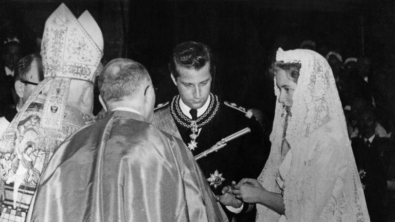 Prince Albert of Belgium, later King Albert II and Princess Paola of Belgium (later Queen Paola) in 1959
