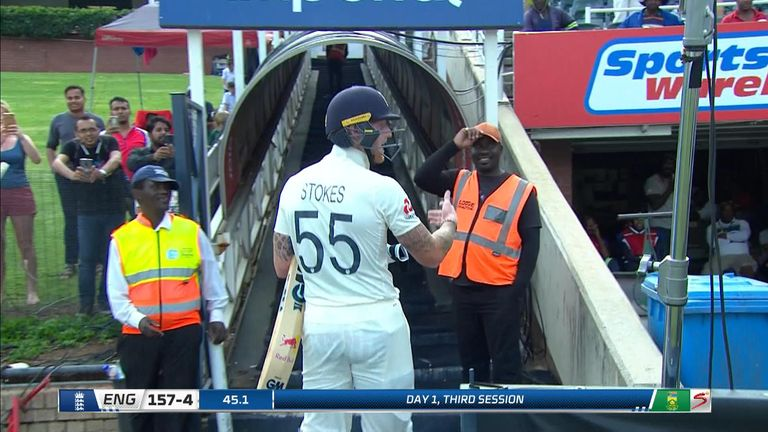 England cricketer Ben Stokes has apologised for strong language used in his reaction to what he's described as repeated abuse from the crowd during the fourth Test against South Africa.