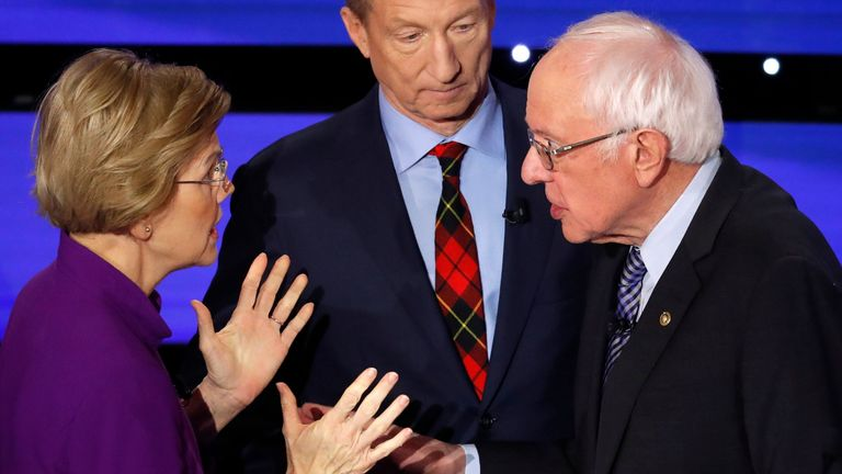 Elizabeth Warren and Bernie Sanders clash during the live televised Democratic candidates debate