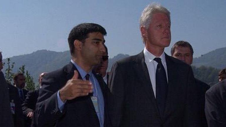 Amed Khan with Bill Clinton in September 2003, Srebenica, Bosnia