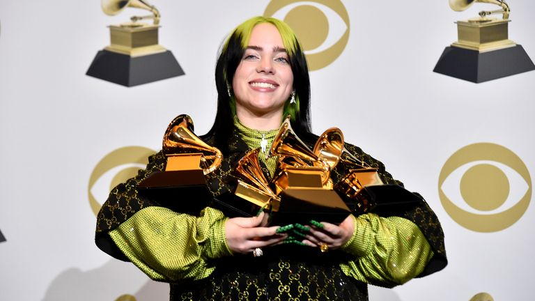 Teenager Billie Eilish won all of the top four major awards at the Grammys 2020