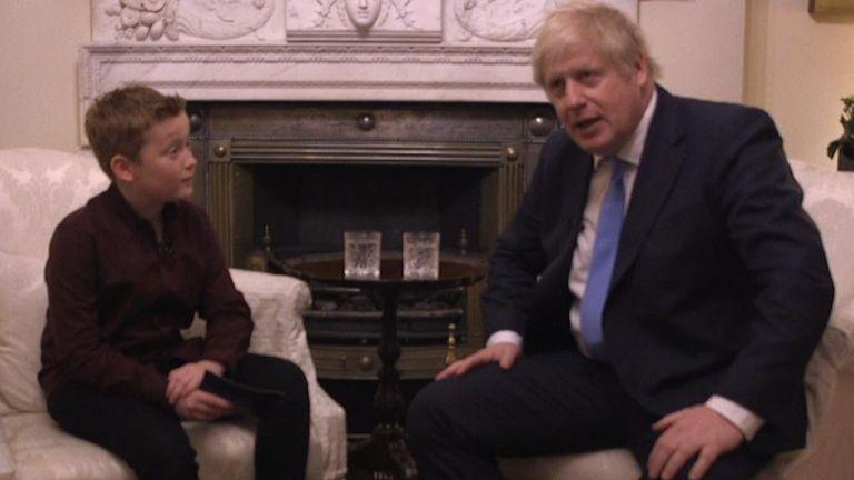Sky News' FYI presenter Braydon Bent, 10, speaking to the prime minister