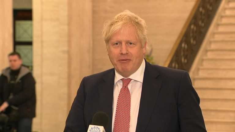 Prime Minister Boris Johnson is at Stormont to mark the restoration of devolution in Northern Ireland.