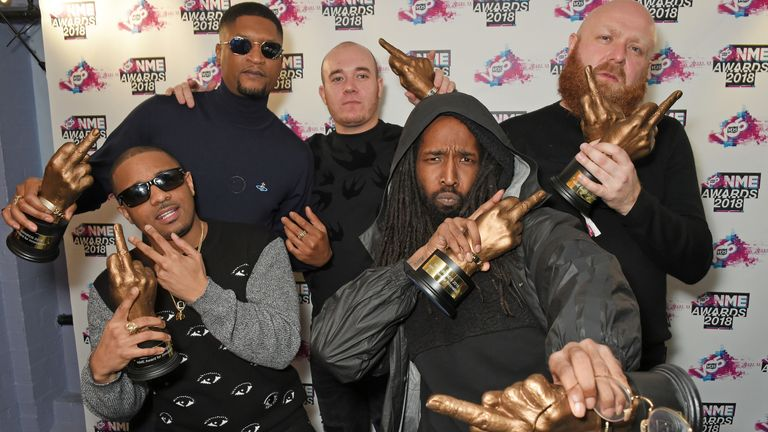 Members of 'Boy Better Know' celebrate their success at the 2018 NME Awards