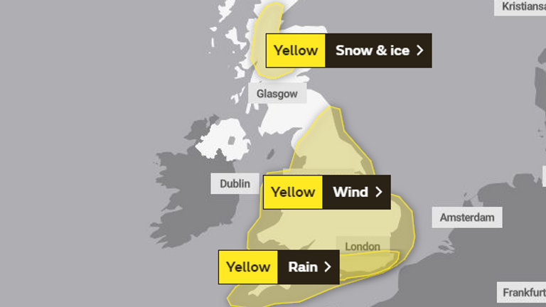 Warnings remain in place for the UK on Tuesday. Pic: Met Office