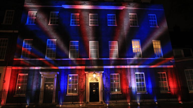 The Union flag colours projected onto 10 Downing Street, London, after the UK left the European…