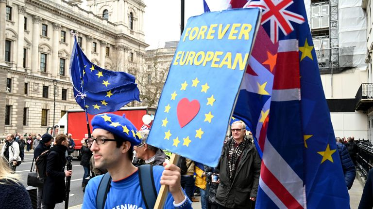 Pro-EU supporters carry flags and placards as they walk down Whitehall in central London