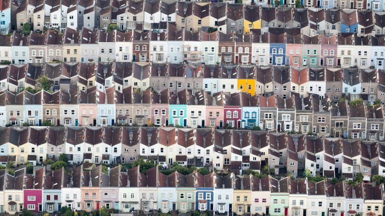 Painted houses in terraced streets are seen from the air on the second day of the Bristol International Balloon Fiesta on August 11, 2017 in Bristol, England