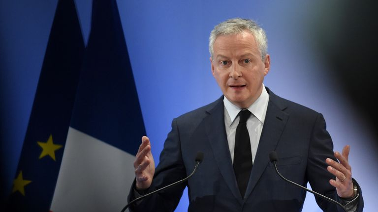 French Economy and Finance Minister Bruno Le Maire addresses his season's greetings at the Economy Ministry in Paris on January 7, 2020