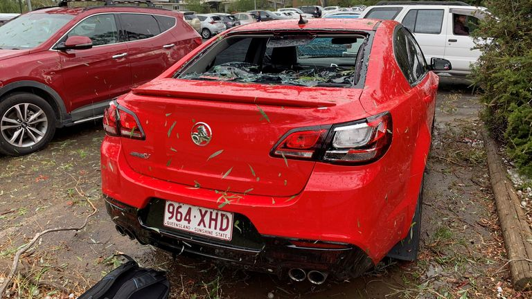 Cars in Canberra have had window's smashed by the hail. Pic: Peter Swanton