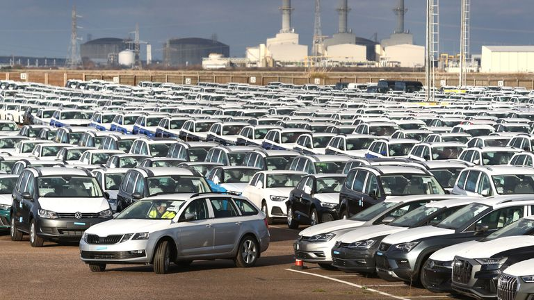 Thousands of new cars lined-up at a compound near Sheerness in Kent. New car sales sunk to a six-year low in 2019 due to low consumer confidence and uncertainty over the treatment of diesel vehicles, the automotive industry has said
