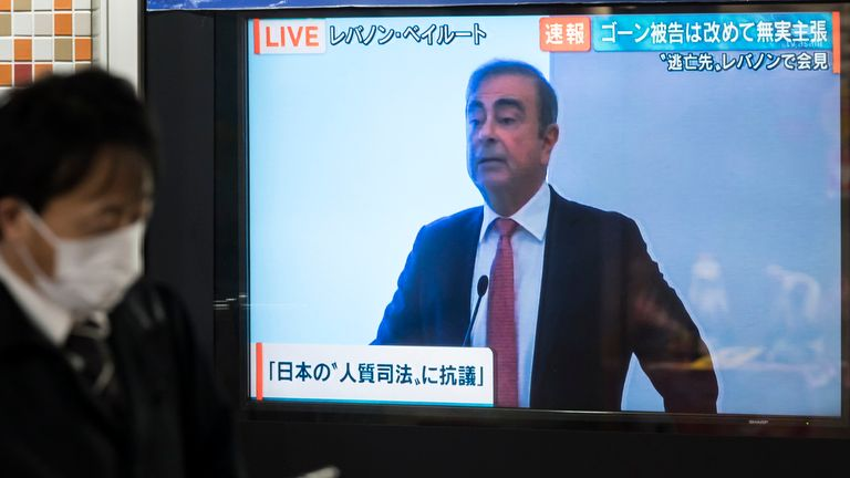 Mr Ghosn's news conference was shown live in Japan