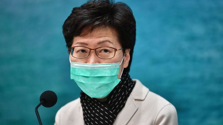 Hong Kong Chief Executive Carrie Lam has suspended rail and ferries to the mainland