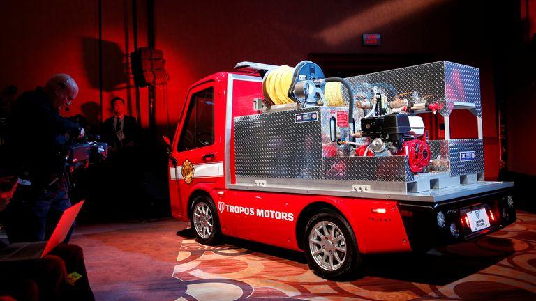 A Tropos Motors electric fire response vehicle