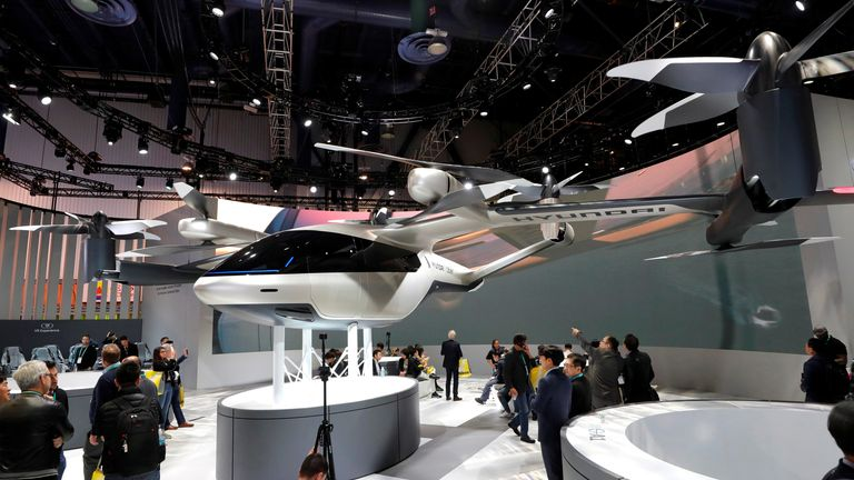 The S-A1, an electric flying taxi developed with Uber, is displayed in the Hyundai  booth during