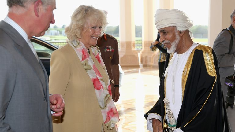 Prince Charles and Camilla arrive for an audience with the Sultan of Oman Qaboos in 2013