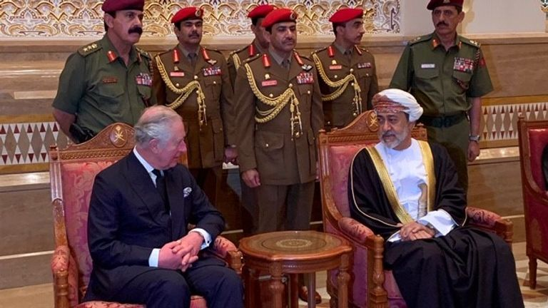 The new Sultan of Oman, Haitham al Said, holds an audience with Prince Charles