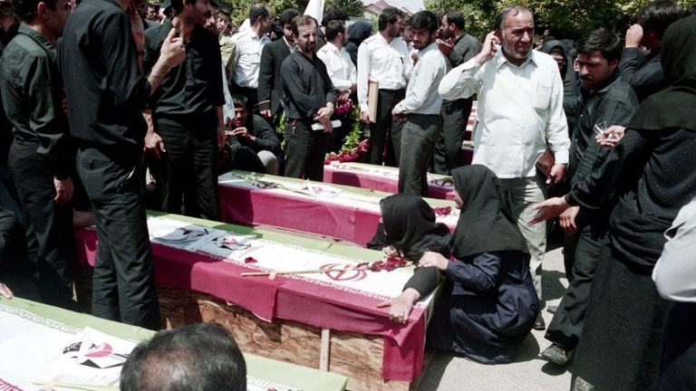 Funeral for victims of US attack on Iranian civilian plane in 1988