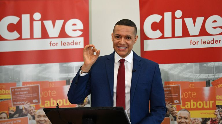 Labour MP Clive Lewis makes a speech at the Black Cultural Archives in Brixton, London, as part of his campaign to become leader of the party