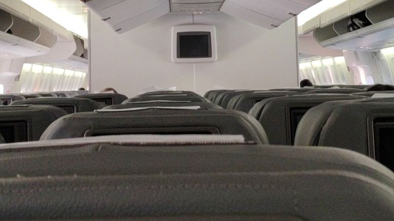 A photograph from a Briton on board the plane appears to show several empty seats