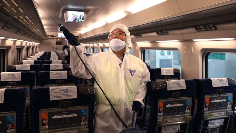 A disinfection worker wearing protective gears spray anti-septic solution on a train in Seoul, South Korea