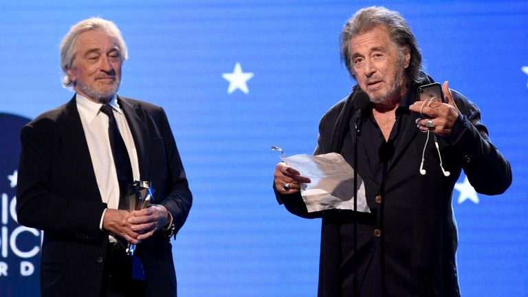 Robert De Niro and Al Pacino accepted the Critics' Choice award for best ensemble cast for The Irishman