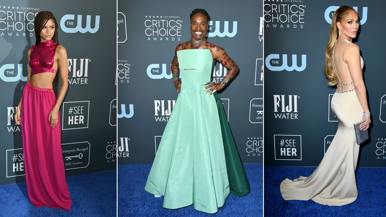 Critics' Choice Awards style (L-R): Zendaya, Billy Porter, Jennifer Lopez
