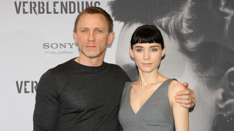 Daniel Craig and Rooney Mara promoting the 2011 film The Girl With the Dragon Tattoo