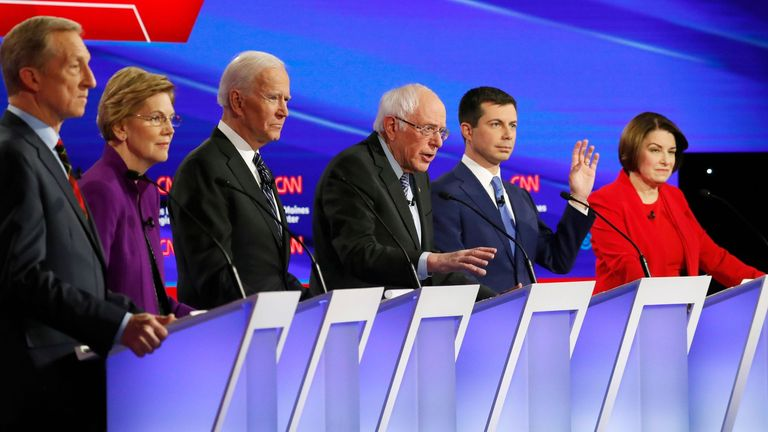 Democratic candidates (L-R) billionaire activist Tom Steyer, Senator Elizabeth Warren, former vice president Joe Biden, Senator Bernie Sanders, former South Bend, Indiana, mayor Pete Buttigieg and Senator Amy Klobuchar