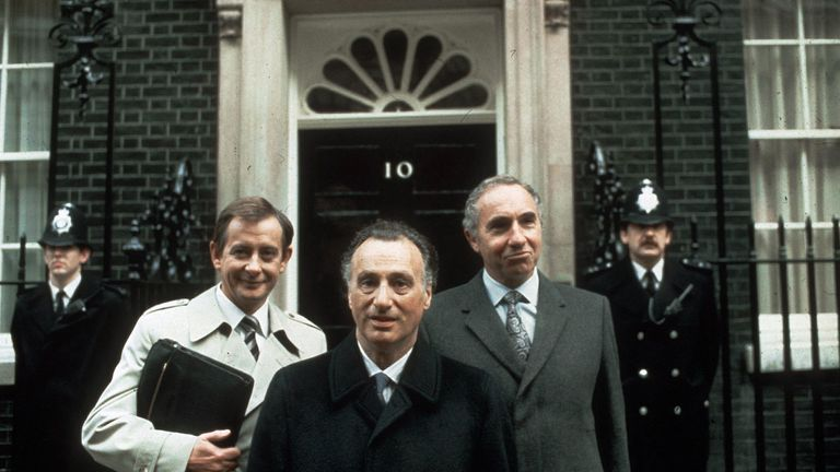 Derek Fowlds (left) with Yes Minister co-stars Paul Eddington (centre) and Nigel Hawthorne (right)