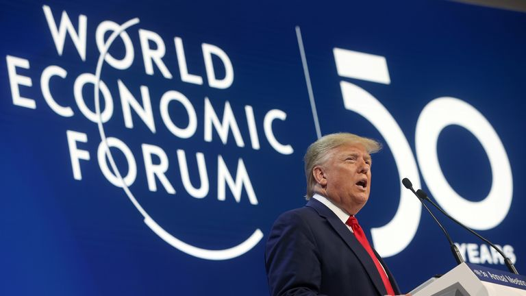 Donald Trump delivers a speech during the 50th World Economic Forum (WEF) annual meeting in Davos