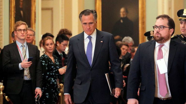 Republican Senator Mitt Romney went against his party and voted with Democrats